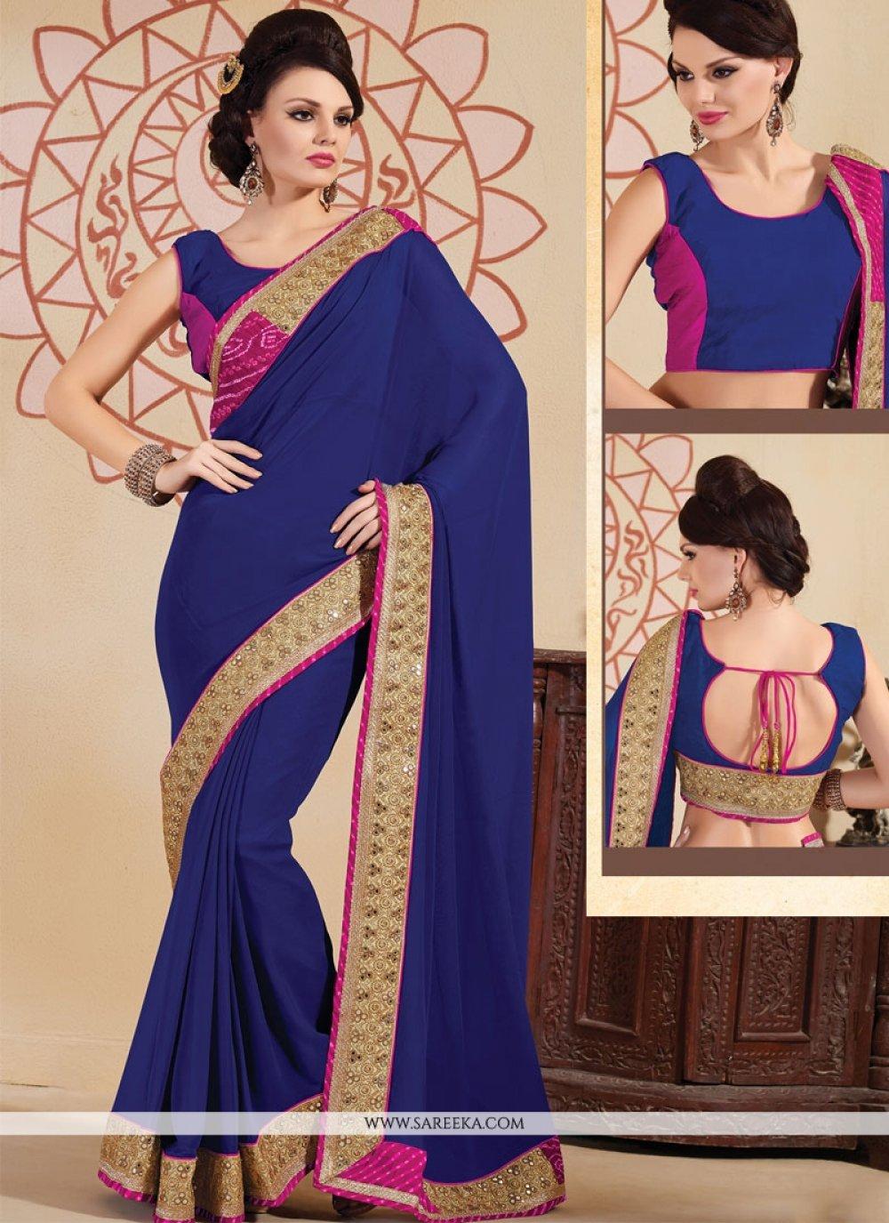 Viscose Navy Blue Embroidered Work Designer Saree