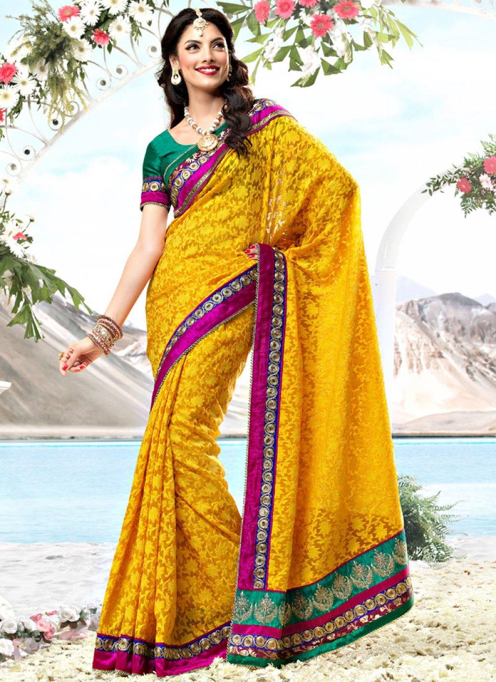 Yellow Fancy Net Saree
