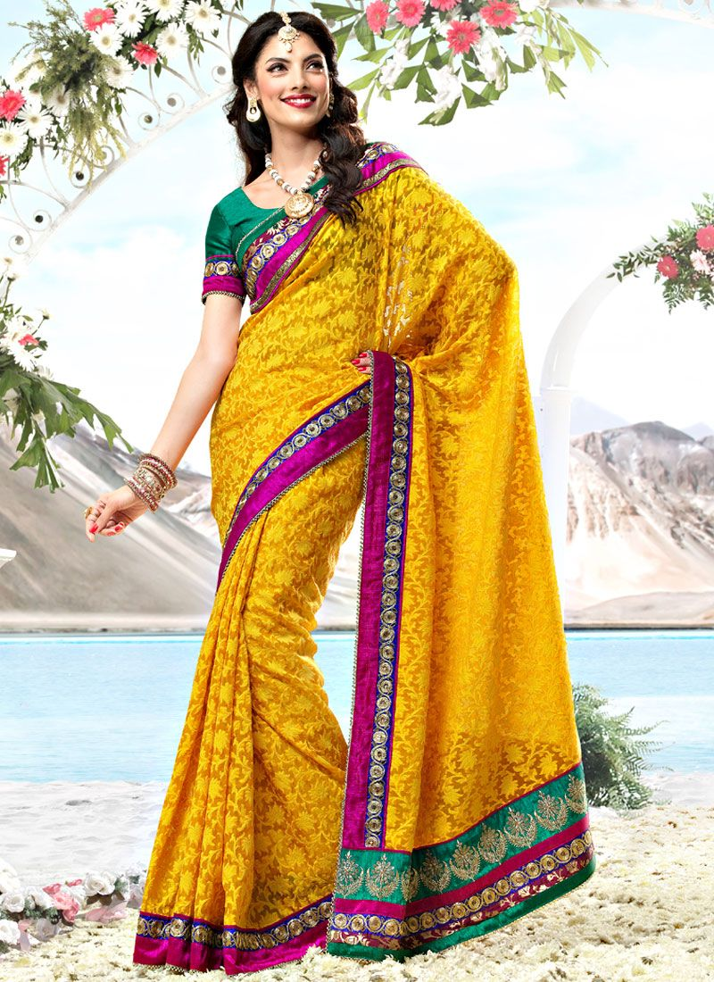 Yellow Fancy Net Saree