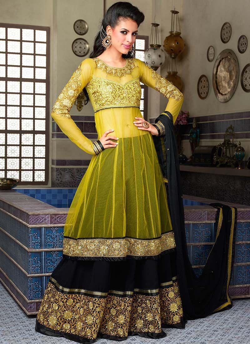 Dresses sarees suits lengha anarkali lehenga pink anarkali lehenga - Yellow Lehenga Style Anarkali Suit