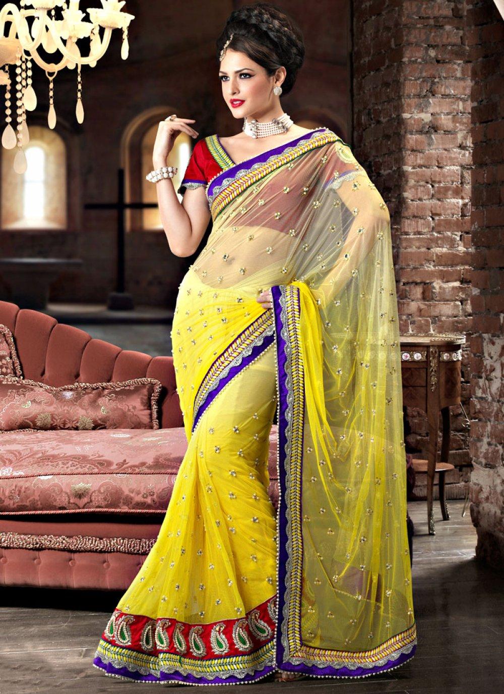 Yellow Net Saree