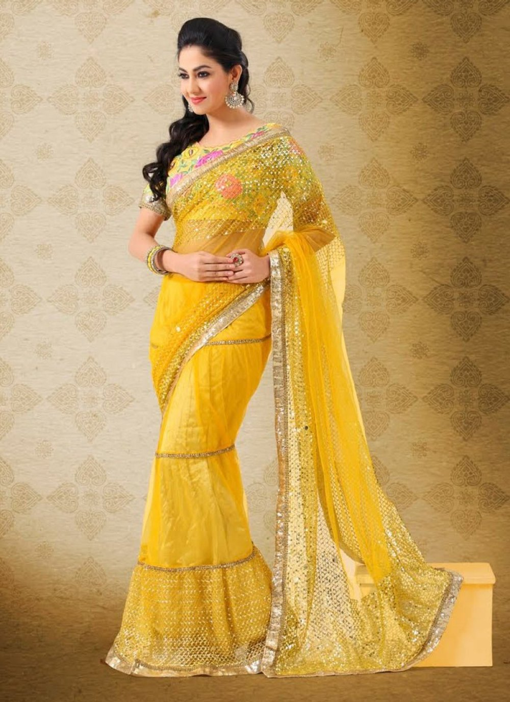 Yellow Sequins Work Net Lehenga Style Saree