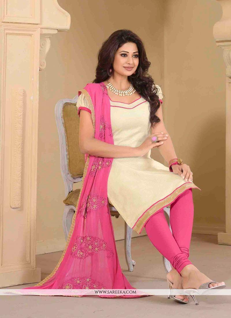 Banarasi Silk Cream Churidar Designer Suit
