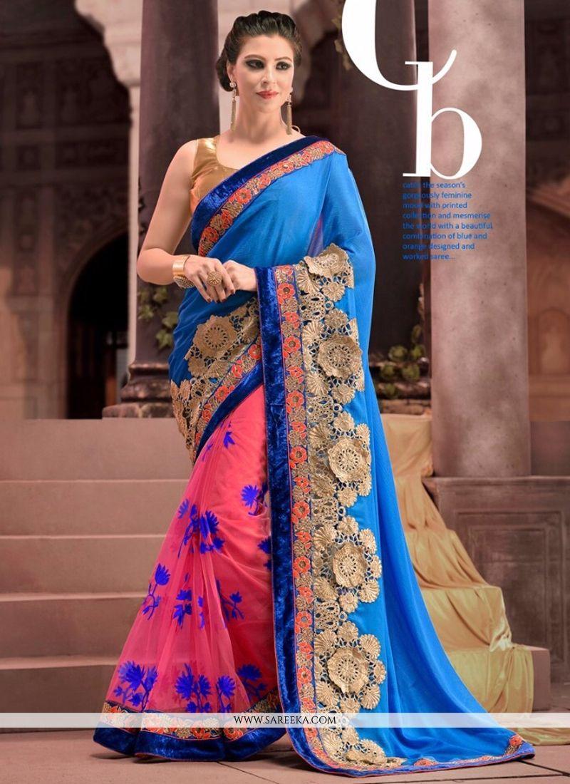 Blue Embroidered Work Designer Saree