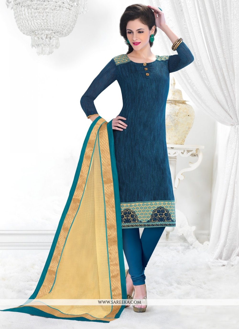 Chanderi Blue Lace Work Churidar Salwar Kameez