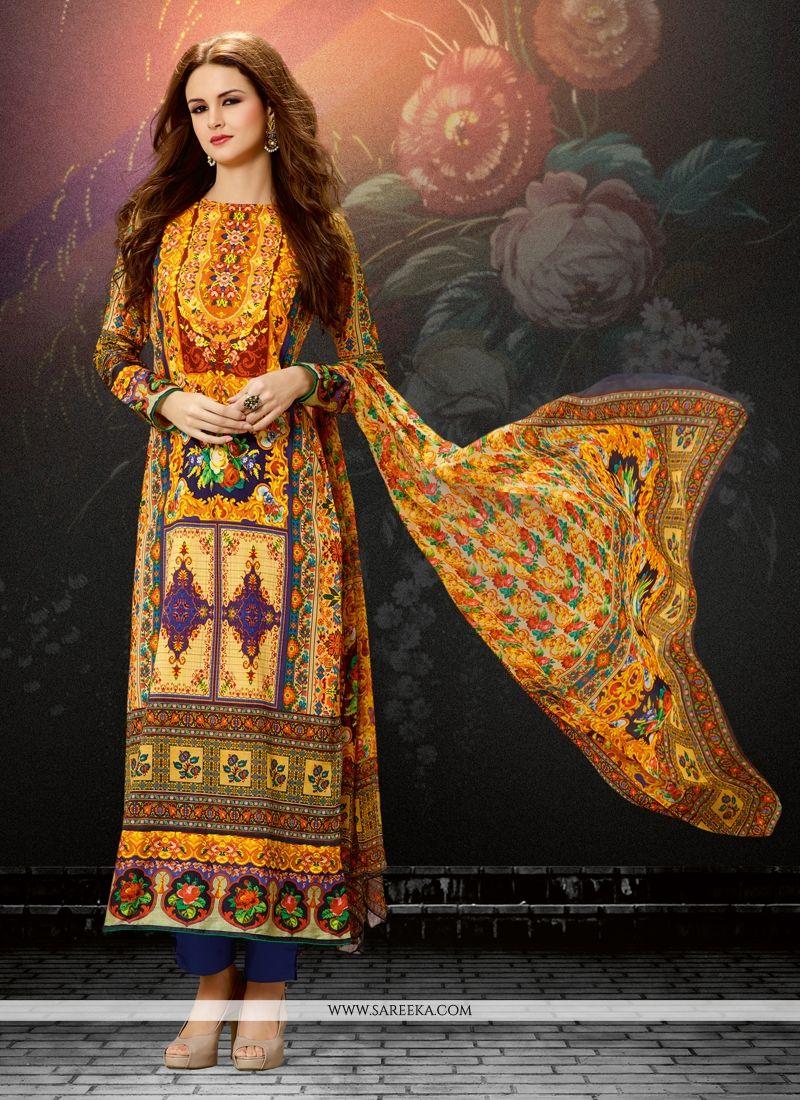 Cotton Satin Designer Straight Suit