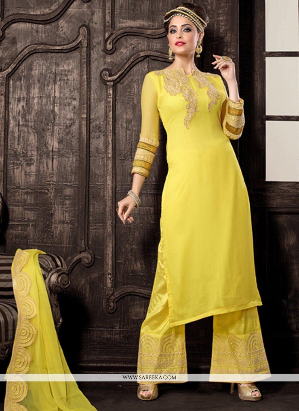 Georgette Yellow Designer Palazzo Salwar Kameez