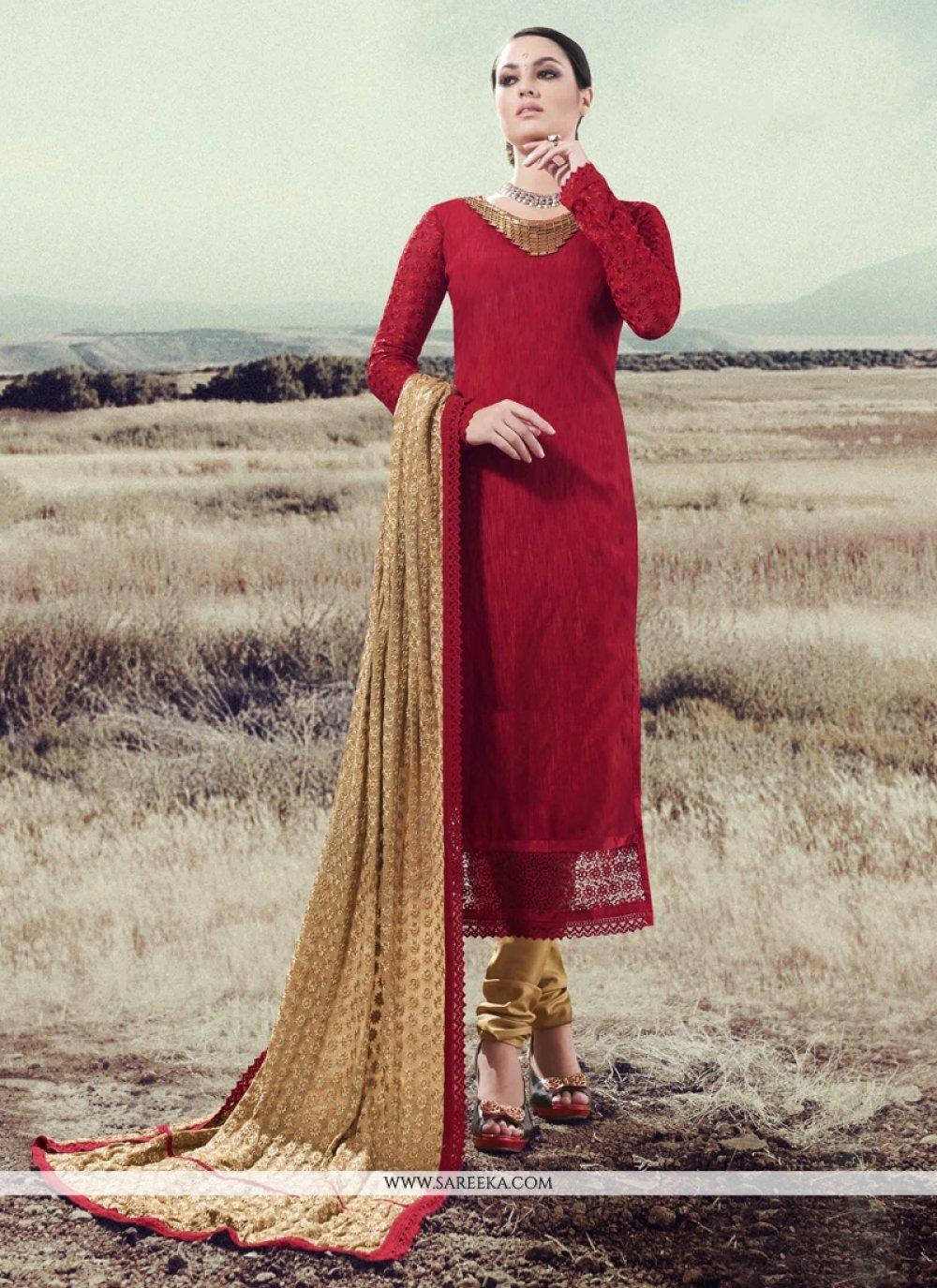 Lace Work Silk Red Designer Straight Salwar Suit