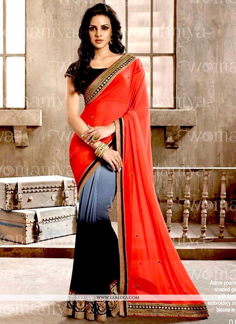 Red and Black Contemporary Saree
