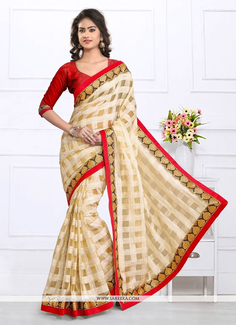 Tissue Cream Designer Saree