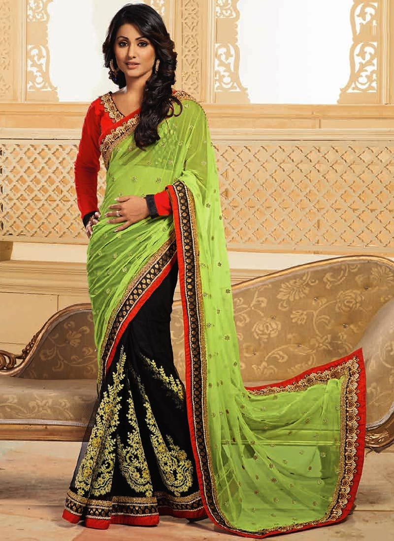Akshara Black And Green Half And Half Saree