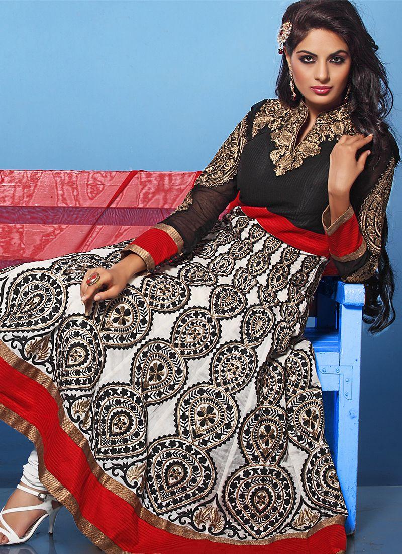 Black And Red Resham Work Net Anarkali Suit