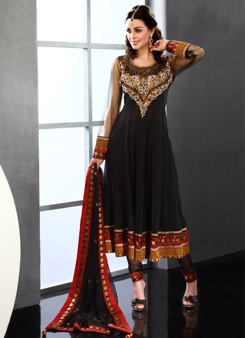 Black Viscose Churidar Suit