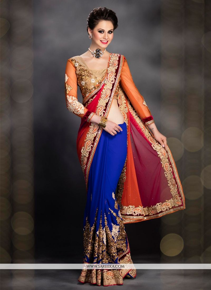 Blue and Orange Resham Work Designer Saree