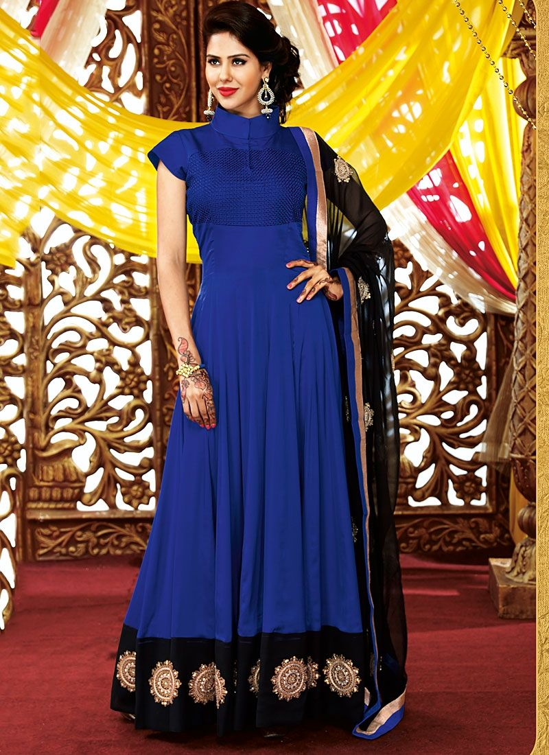 Blue Embroidery Georgette Anarkali Suit