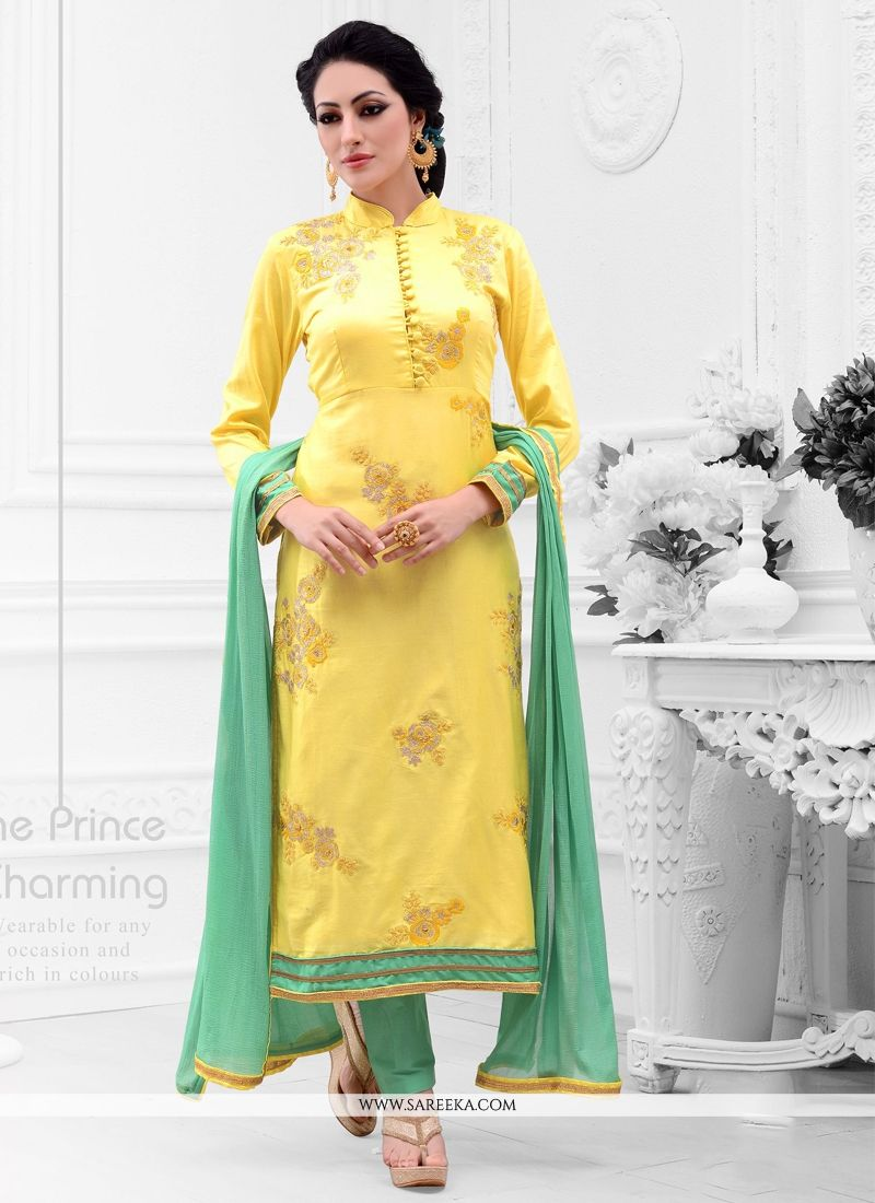 Cotton Satin Yellow Embroidered Work Designer Straight Salwar Kameez