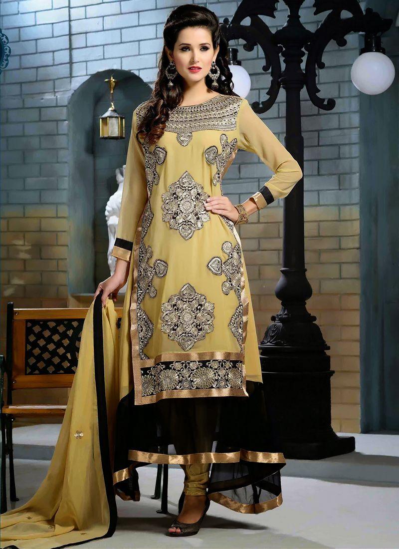 Cream And Black Zari Anarkali Suit