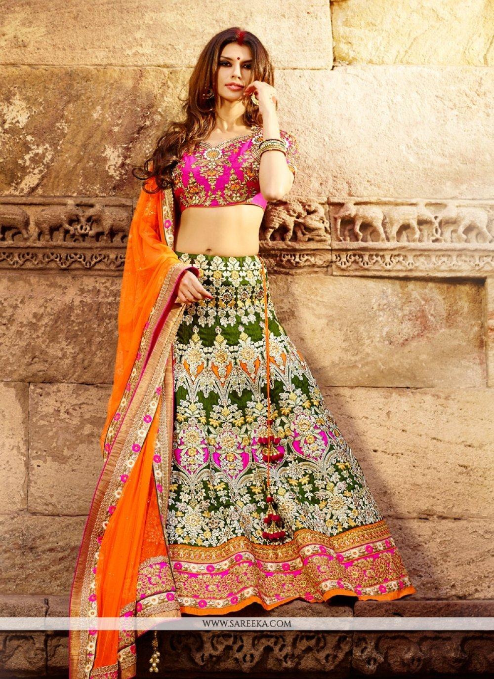 Green Art Silk Bridal Lehenga Choli