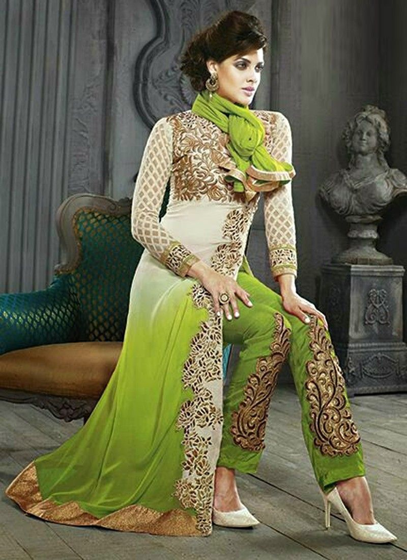 Green Shaded Embroidery Pakistani Suit
