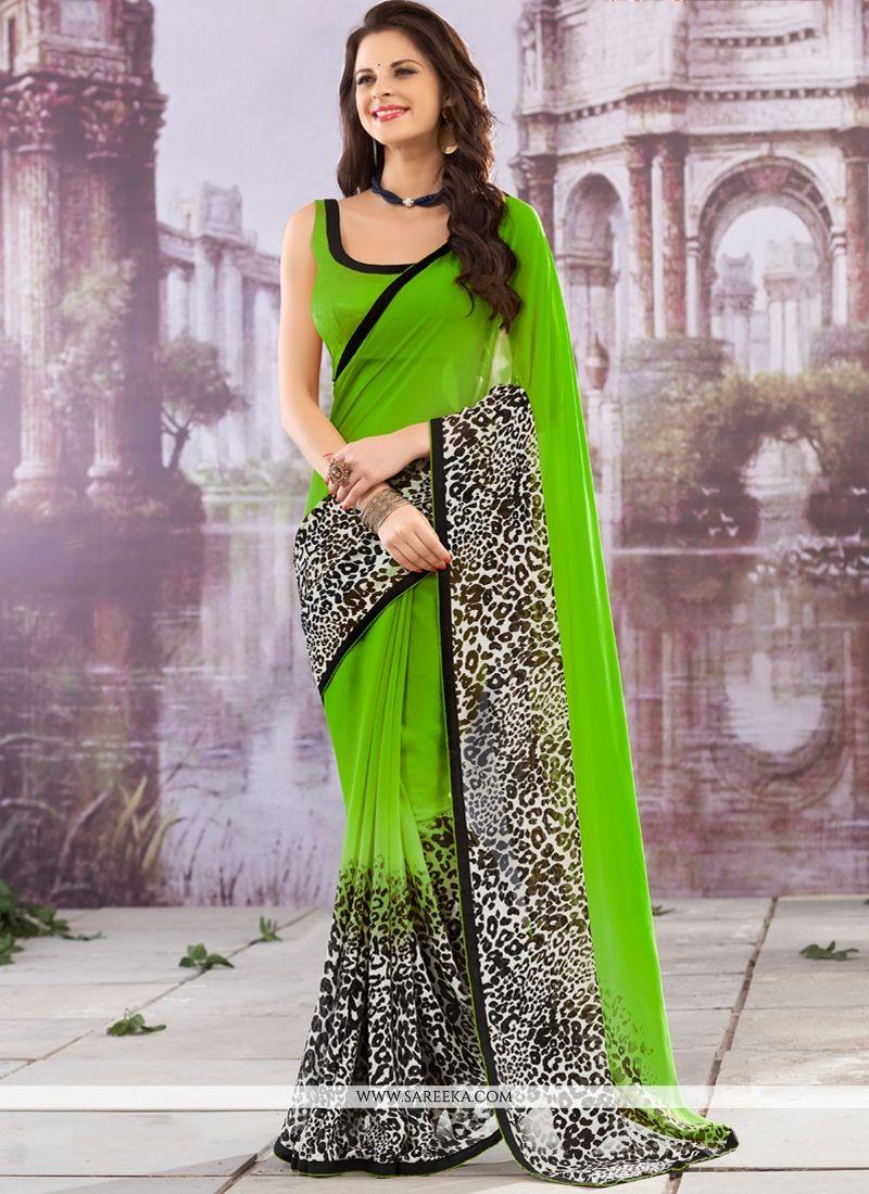 Lace Work Green Casual Saree