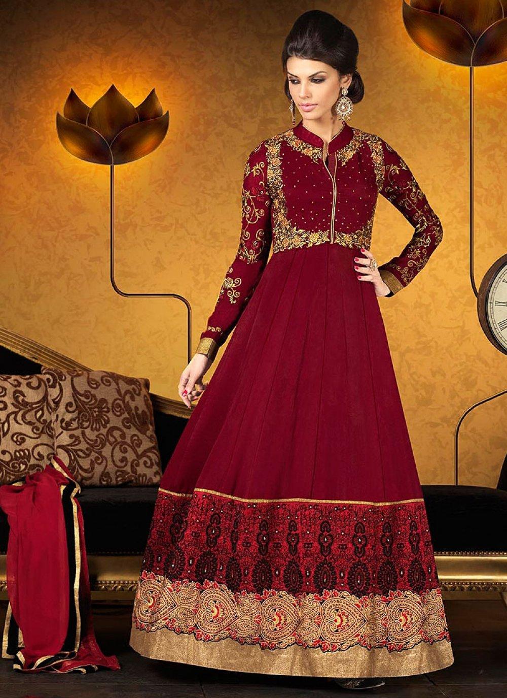 Maroon Resham Georgette Anarkali Suit