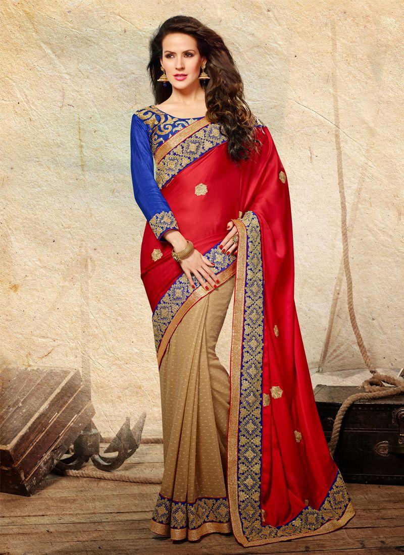 Red Satin Designer Saree