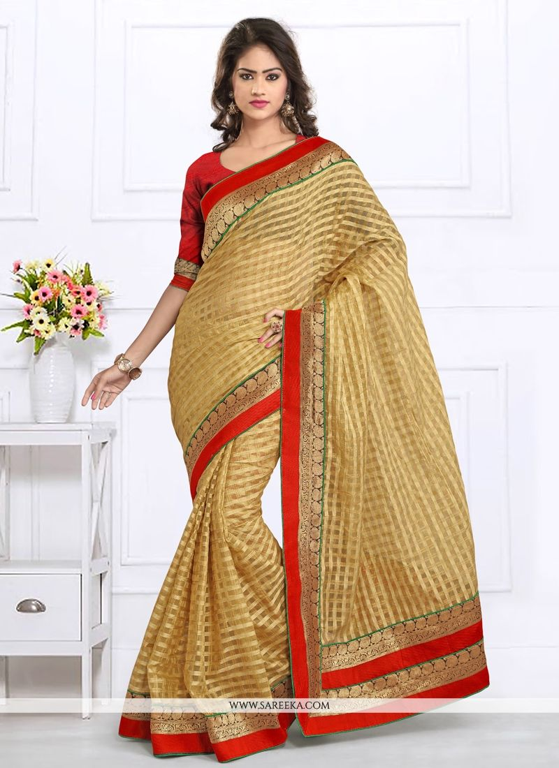 Tissue Patch Border Work Designer Saree