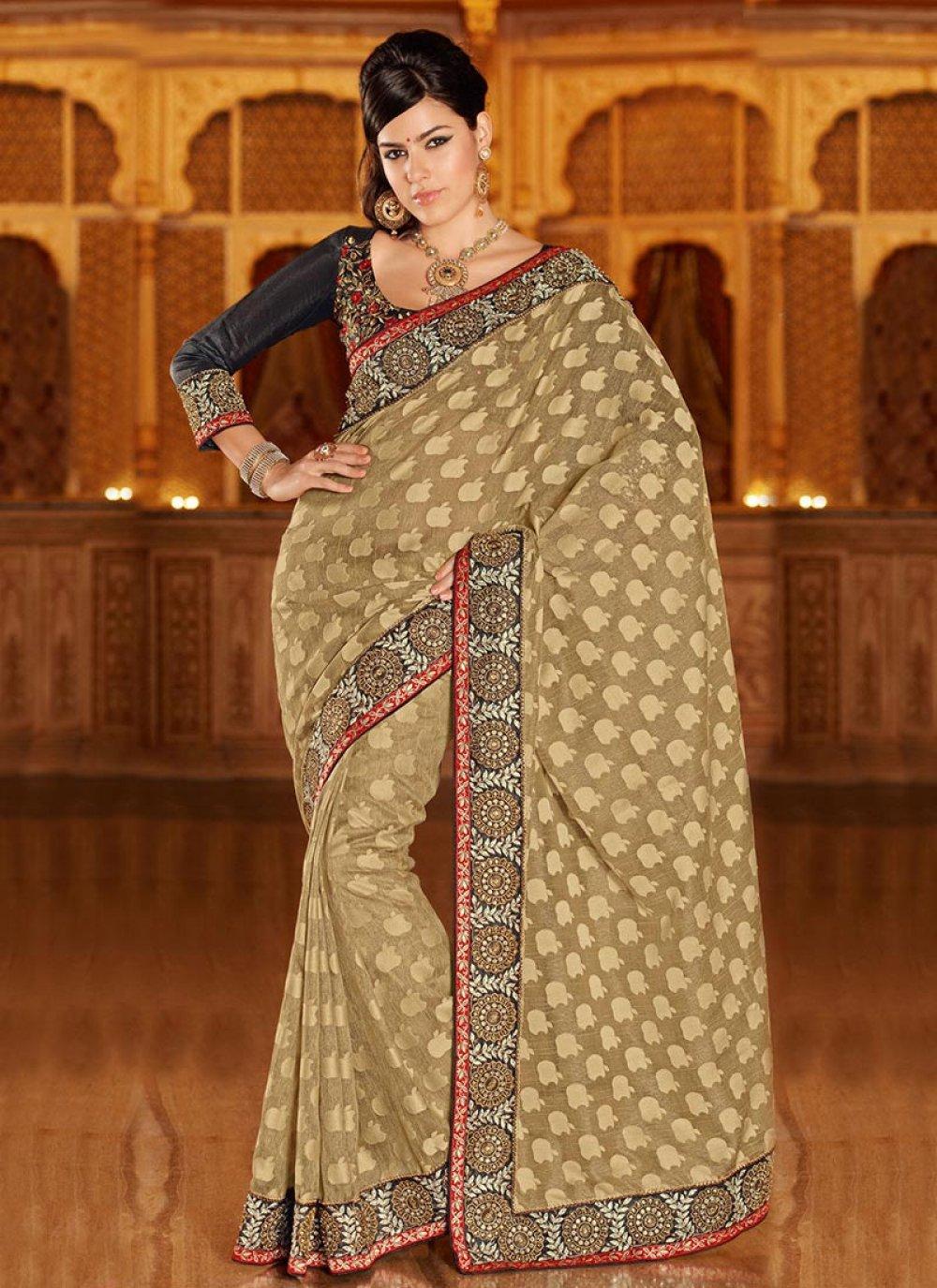 Beguiling Beige Art Silk Saree
