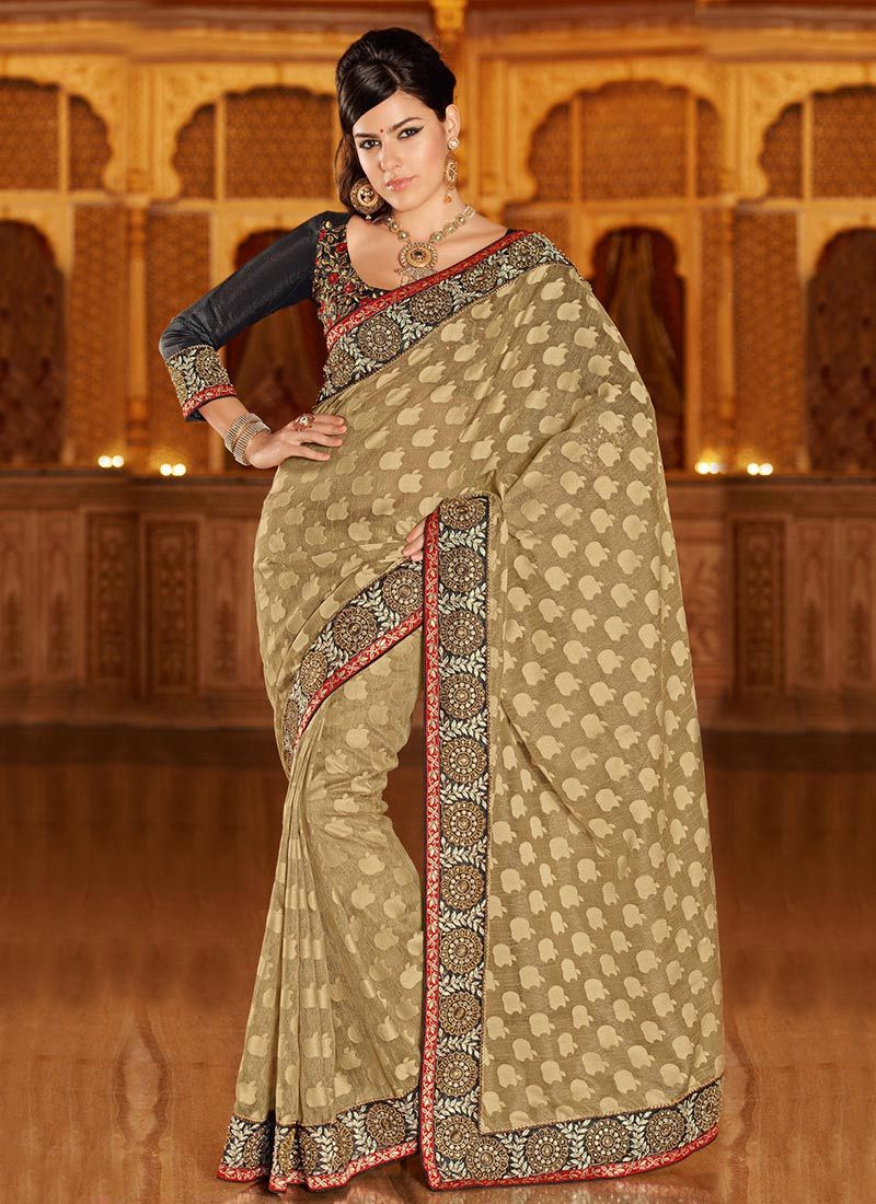 Beguiling Beige Art Silk Saree