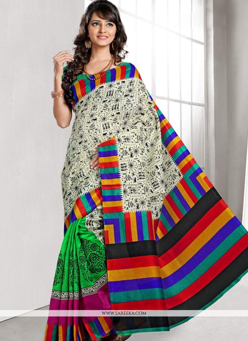 Beguiling Bhagalpuri Silk Lace Work Casual Saree