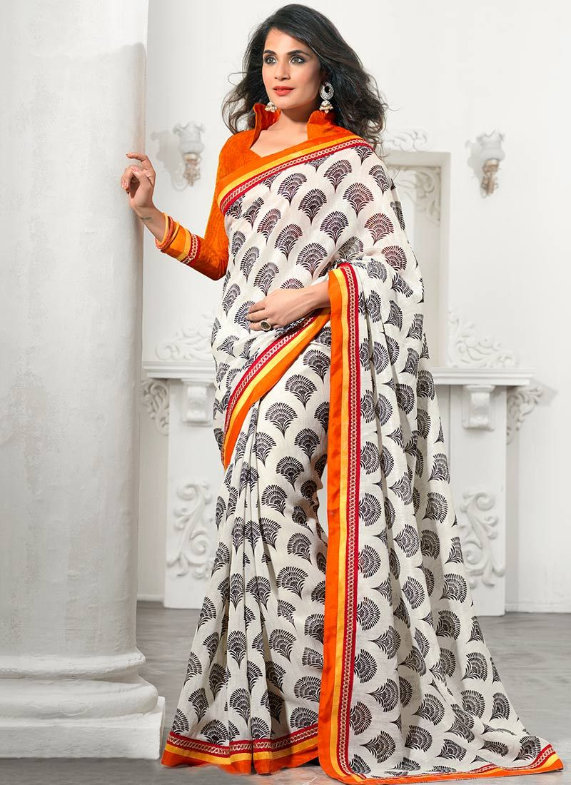 Beguiling Black And Orange Printed Silk Saree