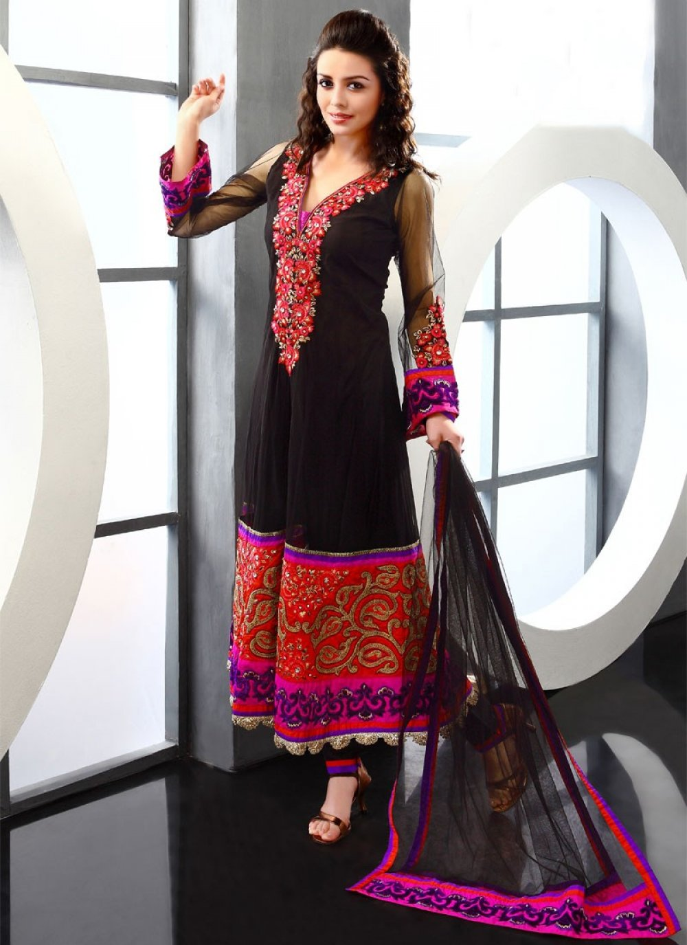 Beguiling Black Net Pakistani Suit