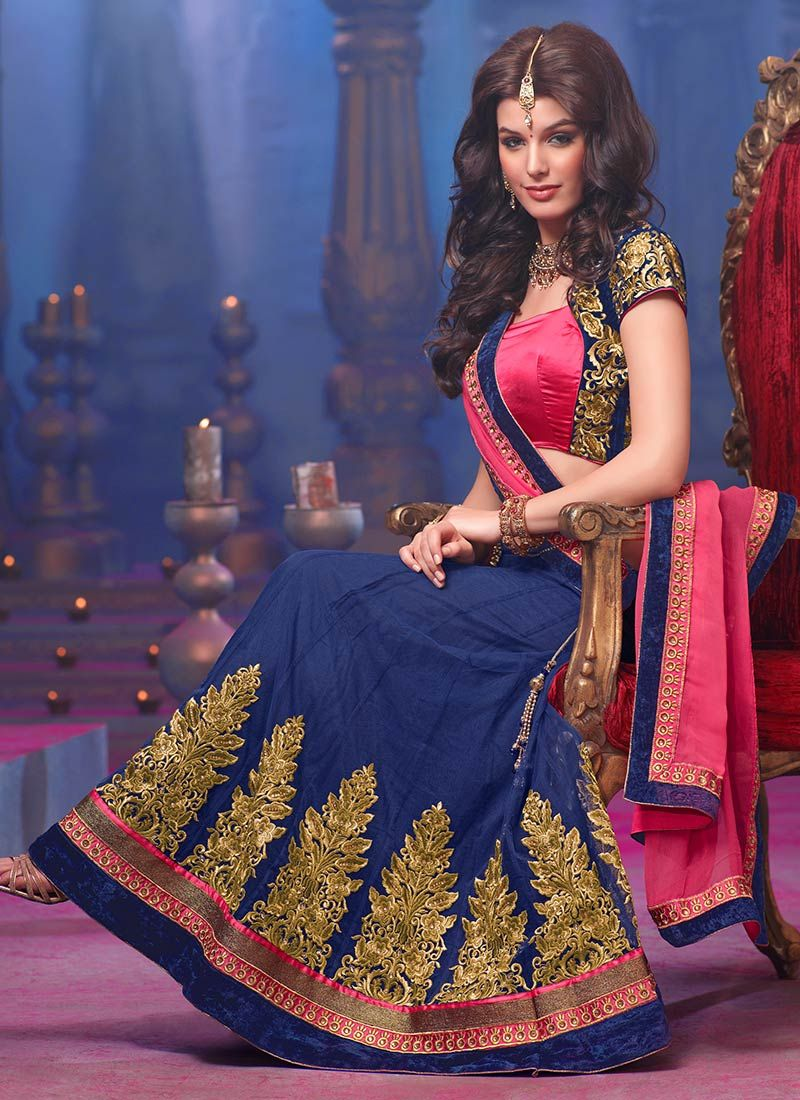 Beguiling Blue And Pink Resham Work Lehenga Choli