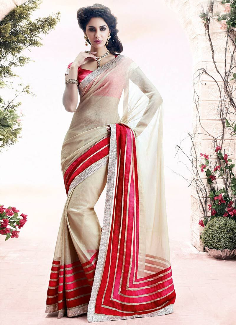 Beguiling Cream Faux Chiffon Saree