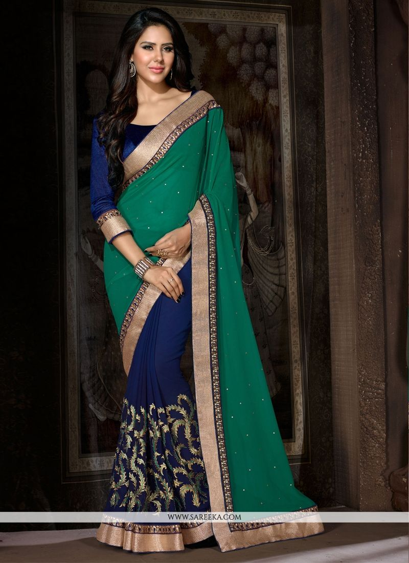 Beguiling Georgette Green and Blue Designer Saree