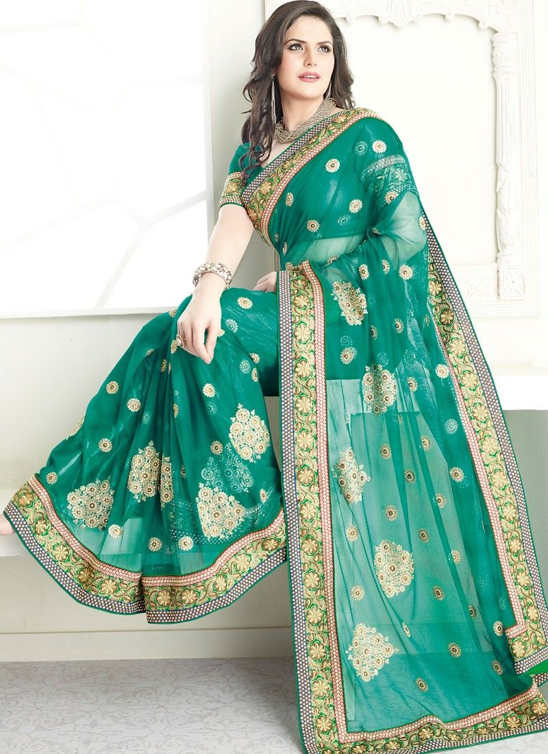 Beguiling Green Embroidered Net Saree