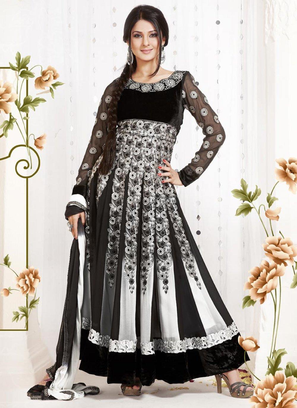 Beguiling Grey And Black Resham Work Anarkali Suit