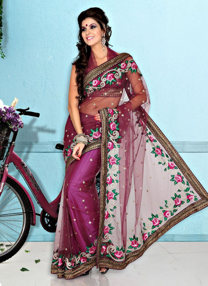 Beguiling Magenta Net saree