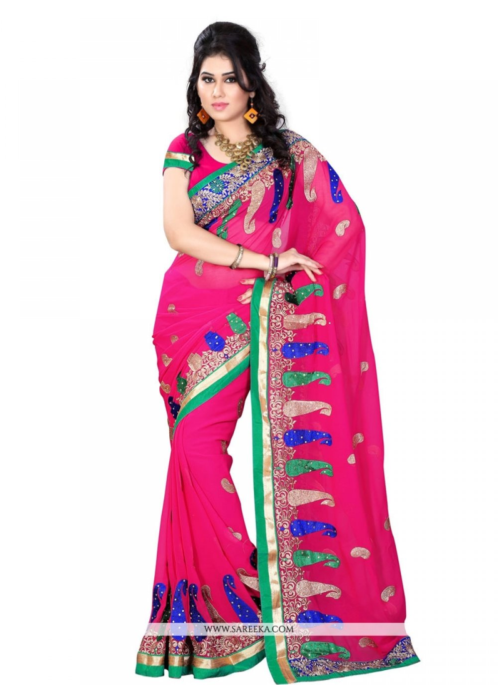 Beguiling Patch Border Work Faux Georgette Designer Saree