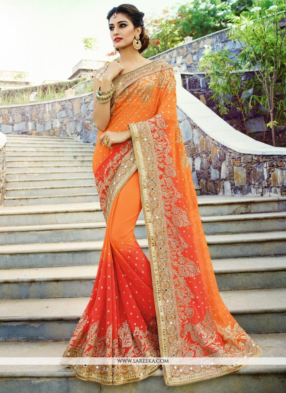 Beguiling Patch Border Work Red and Orange Designer Saree