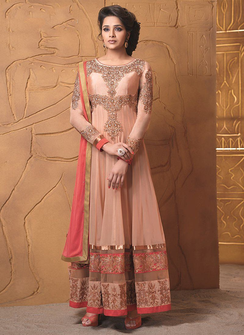 Beguiling Peach Embroidery Net Length Anarkali Suit