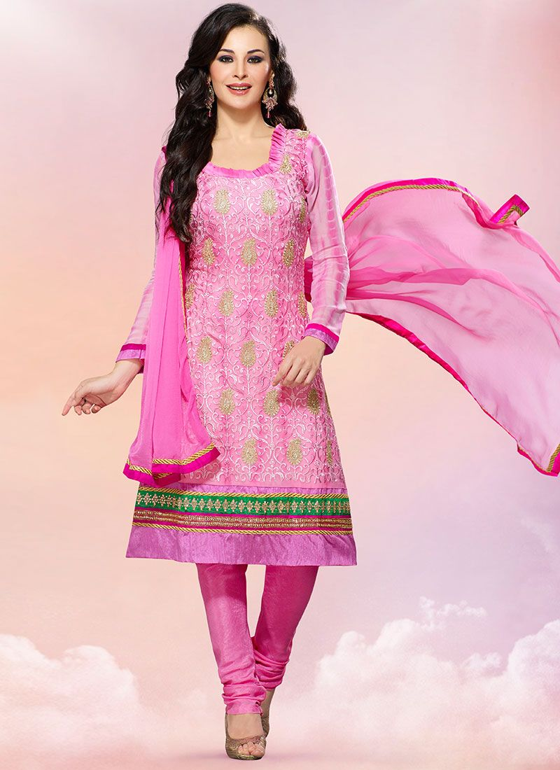 Beguiling Pink Georgette Churidar Suit
