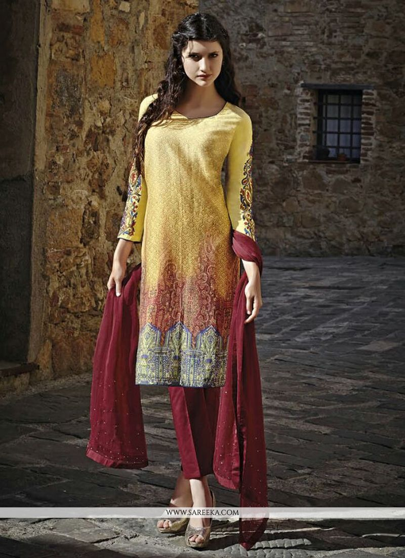 Beguiling Print Work Multi Colour Silk Straight Suit