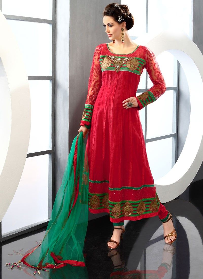 Beguiling Red Cotton Churidar Suit