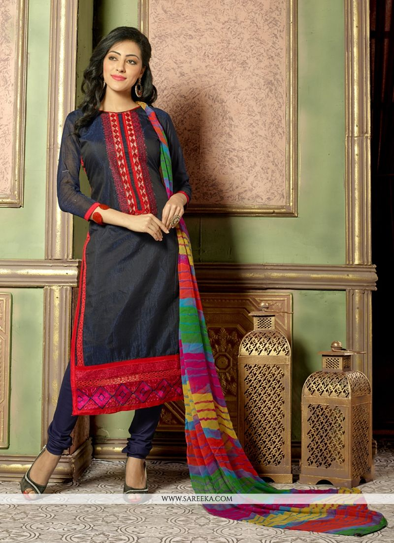 Beguiling Resham Work Black Chanderi Cotton Churidar Salwar Suit