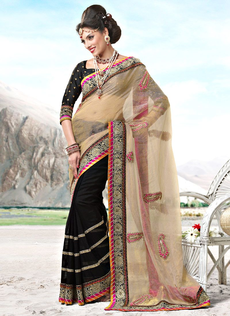 Beige and Black Kota Doria and Faux Georgette Saree