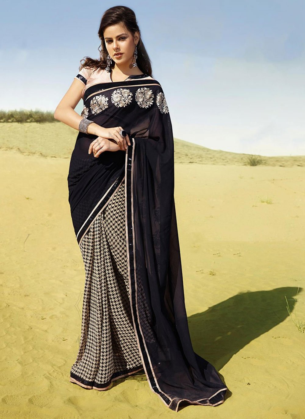 Beige And Black Patch Border Faux Georgette Printed Work Saree
