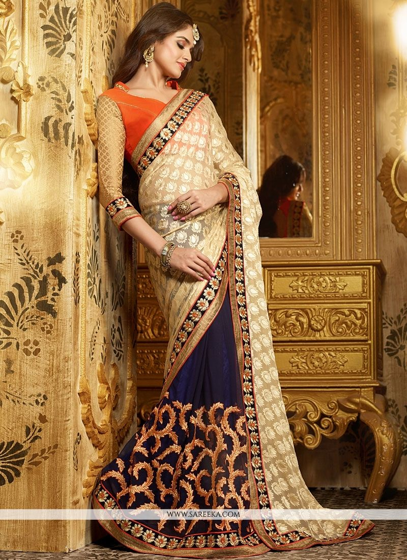 Beige And Blue Embroidery Work Designer Saree
