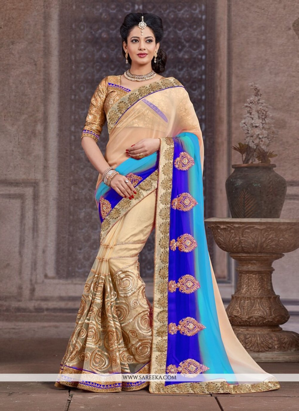 Beige And Blue Net And Bamber Half And Half Saree