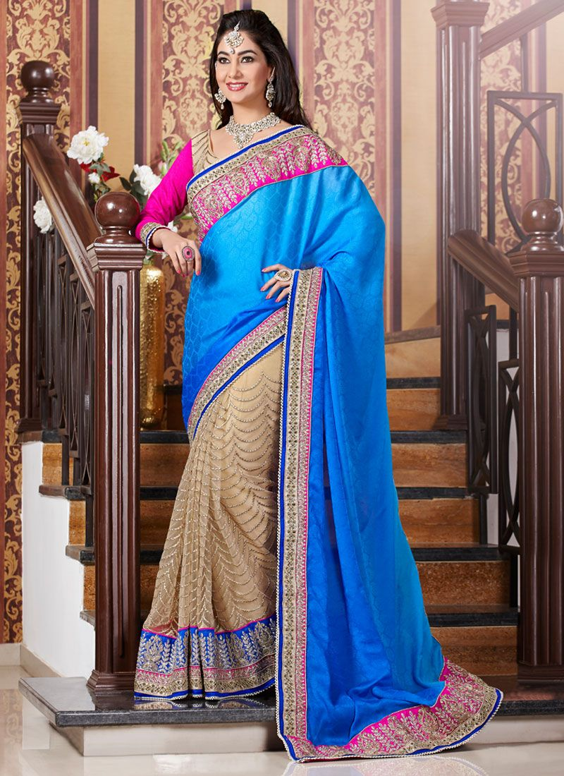 Beige And Blue Zari Work Georgette Designer Saree